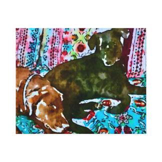 cozy chocolate lab black lab canvas print