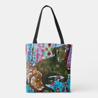 cozy chocolate lab black lab tote bag