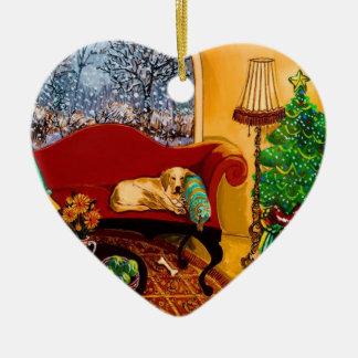 Cozy Christmas Ceramic Heart Decoration