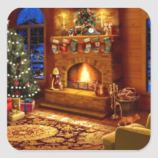 Cozy Christmas Living room Square Sticker