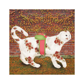 Cozy Costumed Cherry B Cat Stretched Canvas Print