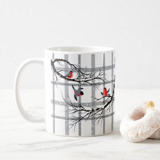 Cozy Country Cottage Coffee Mug, Winter Bird Mug