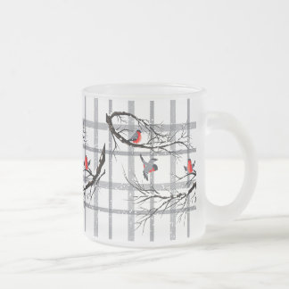Cozy Country Cottage Winter Birds Frosted Mug
