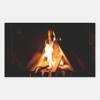 Cozy fire rectangular sticker
