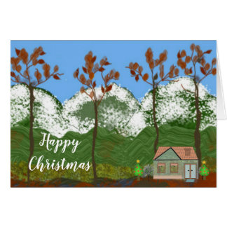 Cozy Home Winter Scene at Christmas Card