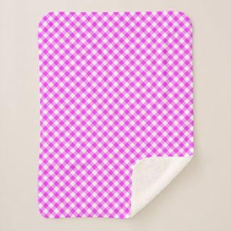 Cozy Hot Pink and White Girly Gingham Plaid Sherpa Blanket