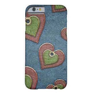 Cozy jeans IPhone 6 case with hearts