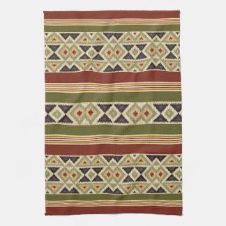 Cozy Native American Indian Stripes Ikat Art Tea Towel