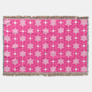 Cozy Pink And White Snowflakes Christmas Pattern Throw Blanket