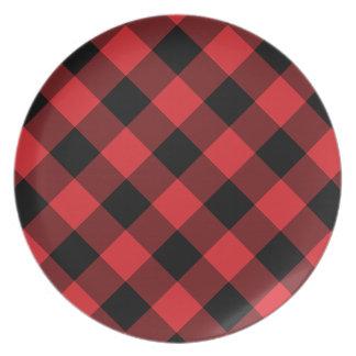 Cozy Plaid   Red and Black Buffalo Plaid Plate