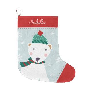 Cozy Polar Bear Large Christmas Stocking