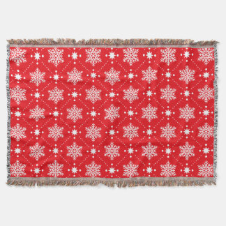Cozy Red And White Snowflakes Christmas Pattern Throw Blanket