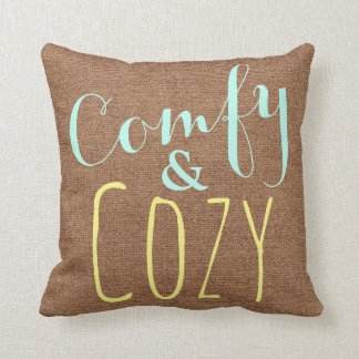 Cozy Teal Yellow Faux Burlap Pillow Rustic Country