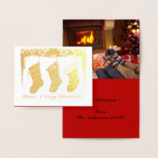 Cozy Vintage Christmas Socks stocking Foil Card