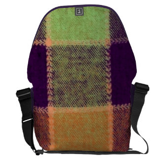 Cozy Warm Plaid Pattern Messenger Bag