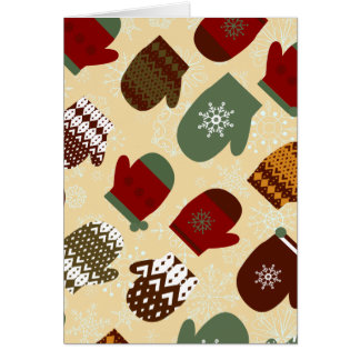 Cozy Winter Christmas Holiday Mittens Card