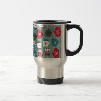 Cozy Winter Christmas Mittens Blue Travel Mug
