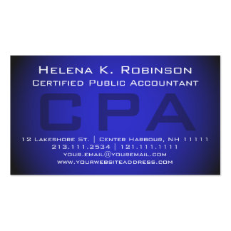 CPA Certified Public Accountant Striking Blue Pack Of Standard Business Cards