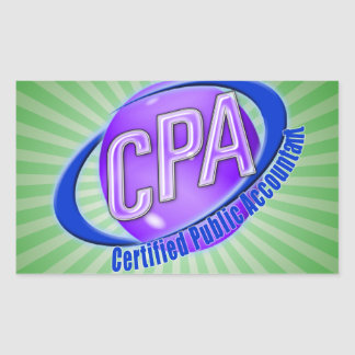 CPA ORB SWOOSH LOGO CERTIFIED PUBLIC ACCOUNTANT RECTANGULAR STICKER