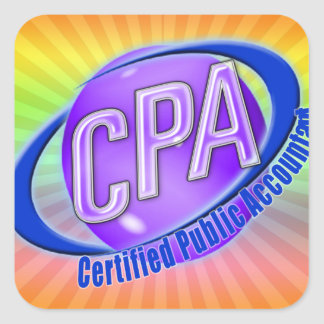 CPA ORB SWOOSH LOGO CERTIFIED PUBLIC ACCOUNTANT SQUARE STICKER