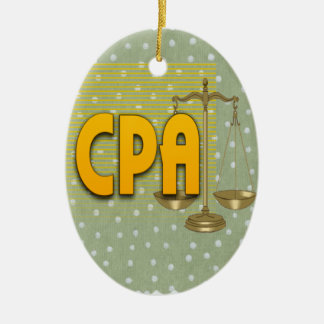 CPA with SCALES LOGO CERTIFIED PUBLIC ACCOUNTANT Ceramic Ornament