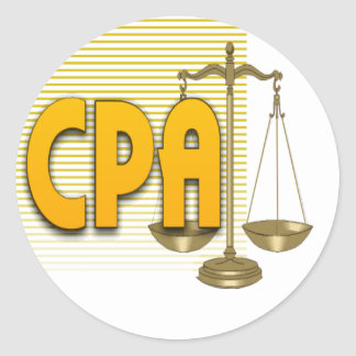 CPA with SCALES LOGO CERTIFIED PUBLIC ACCOUNTANT Round Sticker