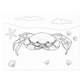 Crab Adult Coloring Postcard