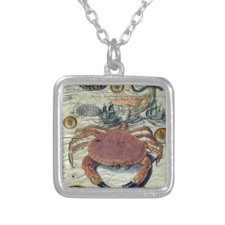 Crab And Map Silver Plated Necklace