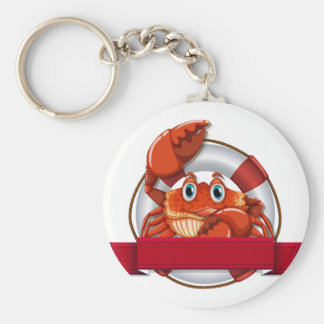 Crab and sign basic round button key ring