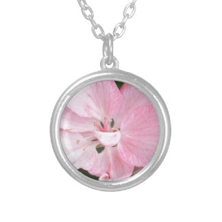 Crab Apple Blossom Close Up Silver Plated Necklace