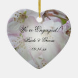 Crab Apple Blossoms Engagement Heart Ornament