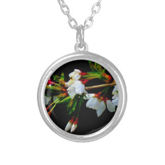Crab-apple blossoms silver plated necklace