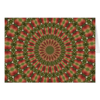 crab apple kaleidoscope red, green abstract greeting card