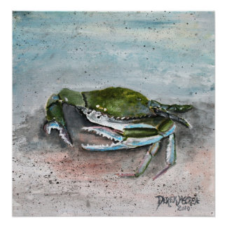 crab baby blue beach square modern art painting poster
