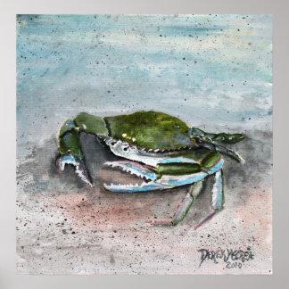 crab baby blue beach square modern art painting