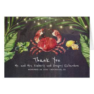 Crab Beach Palm Lights Tropical Thank You Card