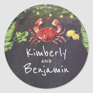 Crab Beach Tropical Palm String Lights Classic Round Sticker