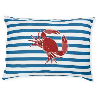Crab Blue and White Horizontal Stripe Dog Bed