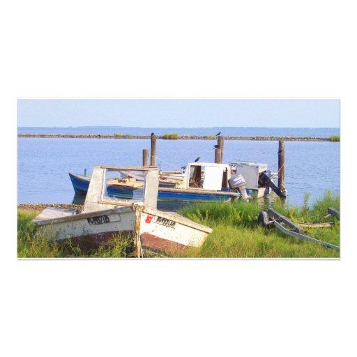 Crab Boats Customized Photo Card