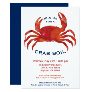 Crab Boil Invitation Low Country Seafood Dinner