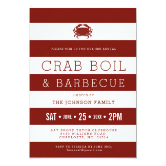 Crab Boil Red | White Invitations