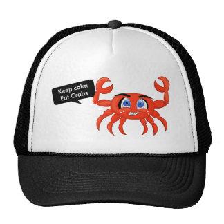 Crab cartoon illustration keep calm eat crabs cap
