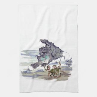 Crab Dancing - Kitten and Crab Tango Tea Towel