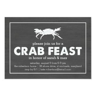 Crab Feast Black & White Chalkboard Card