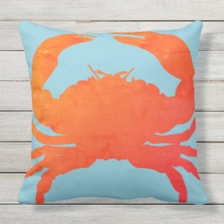 Crab_Nautical-Paprika & Sea-Glass Blue_Lg Outdoor Cushion