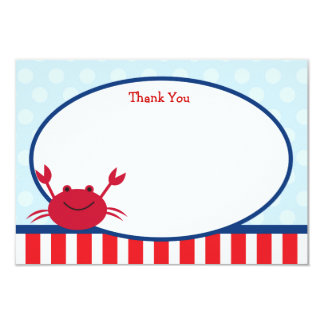 Crab Nautical Thank You Notes 9 Cm X 13 Cm Invitation Card