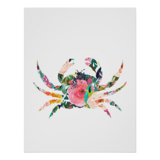 Crab nautical wall print nursery art