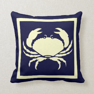 CRAB ,off white on  navy pillow