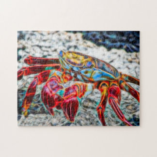 Crab on the Sand Sea Life Red Fire Fractal Jigsaw Puzzle