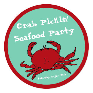 Crab Picking Seafood Boil Party Round Custom Card